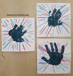 bricolage enfant feux d'artifice, 14 juillet, empreinte de main peinture