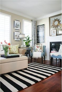Stripes for All! A bold, black and white stripe rug.