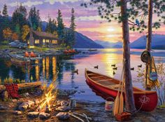 It's evenings like the one stunningly depicted in this Canoe Lake 1000-piece jigsaw puzzle by Buffalo Games that are part of our more dearest memories! The lakeside view of the sunset and sharing stories by the fire are the true treasures of life! Artwork is done by Darrell Bush. The finished puzzle has a size of 26.75 inches x 19.75 inches.Buffalo Games' jigsaw puzzles and the packaging use 100% recycled material with 90% post-consumer content. Proudly made in the U.S.A. The pieces are cut…