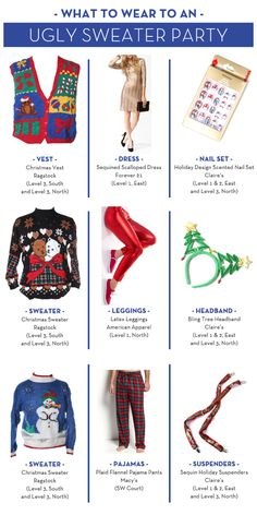 """What to Wear - Ugly Sweater Party NEED IDEAS FOR A  FUN UGLY CHRISTMAS SWEATER PARTY check out """"THE HOW TO PARTY IN UGLY CHRISTMAS SWEATER BOOK"""" at Amazon.com"""