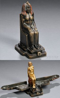 """Franz Bergman erotic metamorphic cold-painted bronze nude, Austria, late 19th / early 20th century, the seated Egyptian statue opens to reveal a nude woman seated on a pedestal, incised """"Nam Greb"""" to base behind locking mechanism and with impressed """"B"""" within a vasiform mark to back of pedestal, ht. 5 3/8 in.   