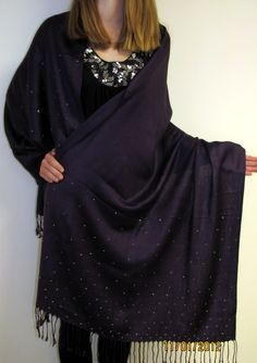 Beautiful Purple Shawl With Sparkles Divine a hand crafted unique evening shawl wrap for women who like unique beauty