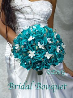 about 8 Heads Real Touch Latex Peony Bridal Flower Bouquet Wedding Bridesmaid Flowers Change the blue out with green and the silver accessories with gold, and I'll be. Turquoise Wedding Bouquets, Teal Bouquet, Rose Bridal Bouquet, Bridal Flowers, Wedding Colors, Turquoise Bouquet, Teal Weddings, Green Bouquets, Bridal Bouquets