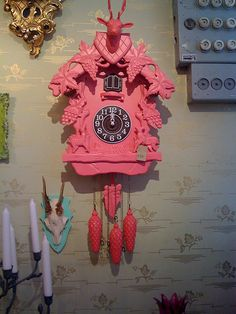 After seeing this pic, I went out and found a vintage cuckoo clock to paint my own favorite shade of pink!