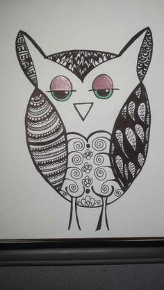 My first zentangled owl, I likie:) - Made by Mindy