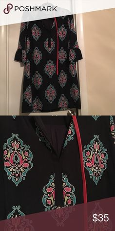 NWOT Colorful Crown & Ivy Dress New dress with beautiful colors. Only tried on. Throwing in a belt I bought to go with it. Unfortunately just doesn't fit, and I pulled the tags. crown & ivy Dresses