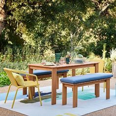 A comfortable companion to the Playa Outdoor Dining Bench (sold separately), this cushion is covered in durable Sunbrella® fabric that's water-repellent and resistant to fading, mildew and chlorine. Outdoor Cushion Covers, Outdoor Cushions, Outdoor Fabric, Concrete Outdoor Dining Table, Wood Dining Bench, Dining Table With Bench, A Table, Dining Set, Dining Room