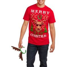 Christmas Men's Festive Reindeer Graphic Tee, Size: XL, Red