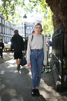 They Are Wearing: London Fashion Week Spring 2013 - WWD.com- mom jeans street style