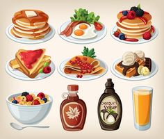 XOO Plate :: Cartoon Breakfast Food Items Vector Set - Various cartoon style breakfast plates - pancakes, waffles, cereal, syrup, crepes, bacon and eggs, juice - vector EPS set.