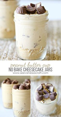 Peanut Butter Cup No Bake Cheesecake Jars Recipe Searching for something delicious & healthy? Make this no bake peanut butter cup cheesecake recipe, served in a mason jar. Mini Desserts, Mason Jar Desserts, Mason Jar Meals, Meals In A Jar, Just Desserts, Mason Jars, Peanut Butter Cup Cheesecake, Cheesecake In A Jar, Peanut Butter Desserts