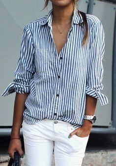 Blue-White Striped Print V-neck Fashion Blouse