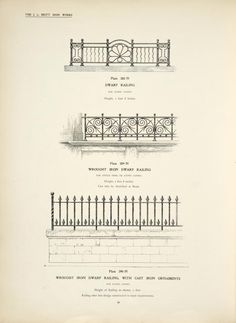 Dwarf railing. [Plate 388-N] ; Wrought iron dwarf railing. [Plate 389-N] ; Wrought iron dwarf railing, with cast iron ornaments. {Plate 390-N].