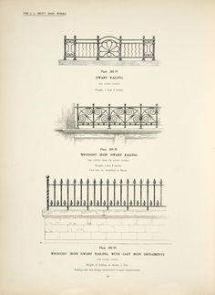 Dwarf railing. [Plate 388-N] ; Wrought iron dwarf railing. [Plate 389-N] ; Wrought iron dwarf railing, with cast iron ornaments. {Plate 390-N].