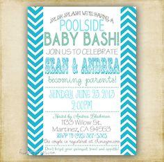 Digital pool party baby boy shower silhouette invitation printable bright modern chevron baby or bridal shower invitation any colors printable diy on etsy 1400 filmwisefo