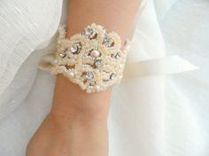Bridal bracelet, bridal cuff, bride cuff, wedding cuff, wedding, bridal, lace cuff, pearl cuff, crystyl cuff, bridal accessory