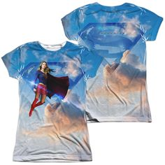 Supergirl - Up In The Sky Junior All Over Print 100% Poly T-Shirt