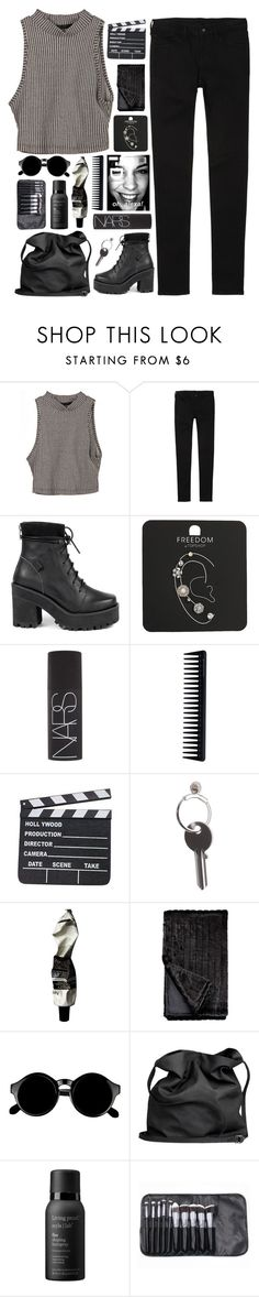 """☾ my taste in music is your face"" by glimpse-of-moondxst ❤ liked on Polyvore featuring Uniqlo, UNIF, Topshop, NARS Cosmetics, GHD, Maison Margiela, Aesop, Retrò, Ann Demeulemeester and Living Proof"