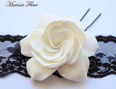Bridal Fascinator, White Or Ivory Gardenia Hair Pin With Clear Swarovski Rhinestone, Bridal Hair Flower, Wedding Hair Accessories. $25.00, via Etsy.