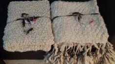 Manta y pie de cama tejido dos agujas lana Merino.
