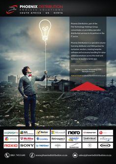 phoenix distribution | advert Kenya, South Africa, Phoenix, My Life, Software, Ads, Technology, Movie Posters, Photography