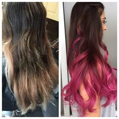 Before and After!  Can we talk about how beautiful this #pinkombre is another beautiful day behind the chair with Heather @herbeautycraze #pinkhair #btcpics #behindthechair #ombrehair #seasonssalon #lorealpro #color #colorspecialist #newhair #newstyle #balayage #hairpainting @hotonbeauty #Padgram