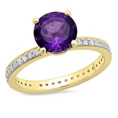 14K Yellow Gold Round Cut Amethyst & White Diamond Bridal Halo eternity Enagagement ring (Size 10). Other ring sizes may be shipped sooner. Most rings can be resized. Items is smaller than what appears in photo. Photo enlarged to show detail. Satisfaction Guaranteed. Return or exchange any order within 30 days. Color may varies from photo. All our diamonds are conflict free.