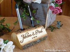 Guest Book Pen Holder Custom Names Initials Words Personalized Rustic Wedding Decor by thatfamilyshop on Etsy https://www.etsy.com/listing/95425486/guest-book-pen-holder-custom-names