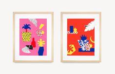 'Small Palm', acrylic paint on cut paper, 40 cm x 30 cm. 'Living Room Plants', acrylic paint on cut paper, 40 cm x 30 cm. Photos of artworks by Mark Lobo.