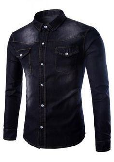bc7c2b9777 Gardient Pocket Long Sleeve Plus Size Denim Shirt Mens Summer T Shirts,  Cheap Mens Shirts