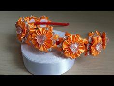 Ободок из атласных лент в оранжевом цвете. - YouTube