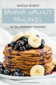 Want something easy and healthy for breakfast? These Banana Walnut pancakes are made with whole wheat, bananas, and have no refined sugar!  Topped with a blueberry topping, these will be the best breakfast ever that your family will go crazy over! Best Breakfast, Healthy Breakfast Recipes, Brunch Recipes, Breakfast Ideas, Pancake Recipes, Healthy Recipes, Vegan Breakfast, Brunch Ideas, Brunch Dishes