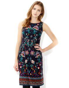 Monsoon Claudia Print Dress Navy 4
