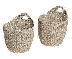 Set de 2 cestas de fibras naturales - beige