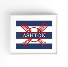 NAME ART- Cotton or Heavy Weight Cardstock Premum Prints - Baseball Print for Boys Room - Navy and Red Wall Art | Baseball stripes