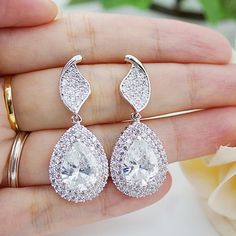 47cb33d96777 Wedding Jewelry Bridal Earrings Bridesmaid Earrings Dangle Earrings LUXURY  Cubic Zirconia Tear drop Accesorios Para Novias