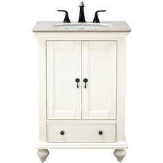 Home Decorators Collection Newport 25 in. D Bath Vanity in Ivory with Granite Vanity Top in Champagne with White Sink - The Home Depot Granite Vanity Tops, Granite Tops, Marble Vanity Tops, Marble Top, White Vanity, White Sink, Home Depot, 24 Inch Vanity, 24 Inch Bathroom Vanity