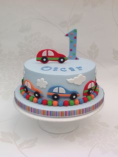 Blue 1st Birthday Cake with colourful cars