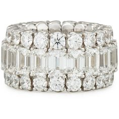 Picchiotti 18K White Gold Expanding Diamond Ring ($110,905) ❤ liked on Polyvore featuring jewelry, rings, emerald cut diamond ring, round ring, emerald cut ring, diamond band ring and diamond rings