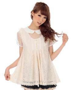 Cute Liz Lisa blouse with the white peter pan collar and the sheer cutouts at the neckline and the sleeves.