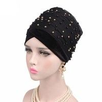 b27f5185357 New Luxury women Mass Gold Beaded Mesh Head wrap Velvet Nigerian Turban  Women Hijab Long Head scarf Headscarf Turbante  lyxn-LB