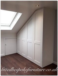 Refined Attic storage near me,Attic room at sleeping giant inn and Attic bedroom fitted wardrobes. Loft Conversion Wardrobes, Loft Conversion Bedroom, Dormer Loft Conversion, Loft Conversion Lighting, Loft Conversions, Eaves Storage, Loft Storage, Storage Ideas, Loft Room