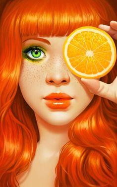 오렌지가 갖고 있는 귀엽고 활발하면서 깜찍하고 상큼한이미지