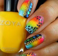Nail designs D Crazy Nail Art, Crazy Nails, Love Nails, How To Do Nails, Pretty Nails, Bella Nails, Sassy Nails, Bright Nails, Neon Nails