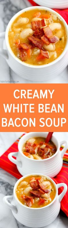 Creamy white bean and bacon soup will warm you right up! The flavors are INCREDIBLE!