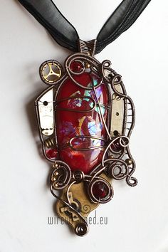 Steampunk fused dichroic glass wire wrapped pendant