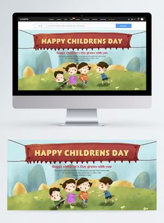 Hand drawn cartoon children's day web banner happy childrens day,children,happy,celebrate,discount,child,colourful,cartoon,grassland,web banner,hand drawn#Lovepik#template