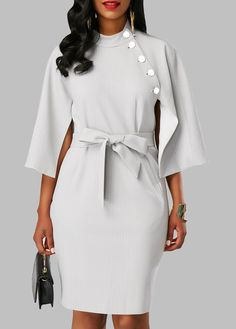 Cape Sleeve Button Embellished Belted Dress on sale only US$33.95 now, buy cheap Cape Sleeve Button Embellished Belted Dress at liligal.com