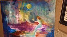 #vintage #mermaid on my easel #midnight #inspiration #girlsroomdecor #fineart #interiordesign @lilynavagallery