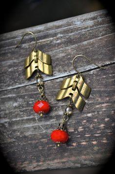 Chevron Chain Earrings red Czech glass by practicallyfrivolous, $28.00